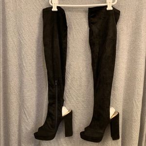Liliana Open Toe, Thigh High Black Suede Boots